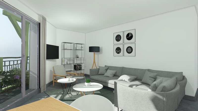 immobilier neuf Rouen salon angle