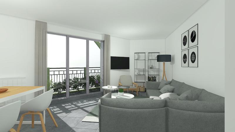 immobilier neuf Rouen salon balcon